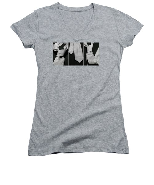 Women's V-Neck T-Shirt (Junior Cut) featuring the photograph It's A Tie - Triptych by Trish Mistric