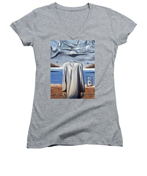Its All In Your Head Women's V-Neck T-Shirt (Junior Cut) by Ryan Demaree