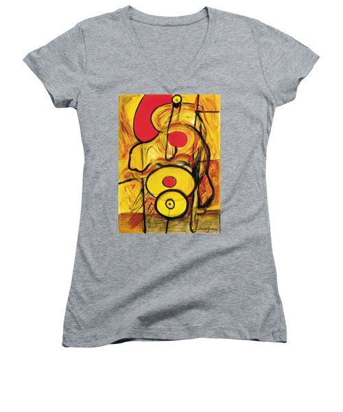 Women's V-Neck T-Shirt (Junior Cut) featuring the painting It's All Relative by Stephen Lucas