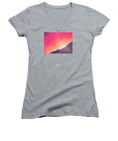 Women's V-Neck T-Shirt (Junior Cut) featuring the painting It's Not About The Climb  Rather What Awaits You On The Other Side by Chrisann Ellis