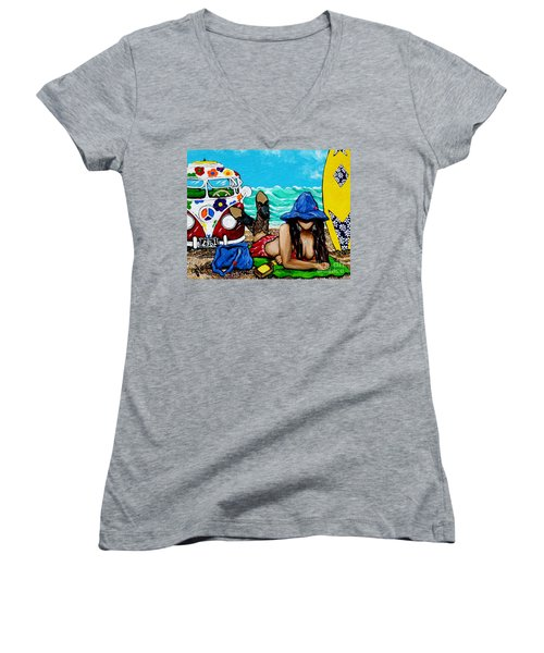 Women's V-Neck T-Shirt (Junior Cut) featuring the painting J. C. Beaching It In 1961 by Jackie Carpenter