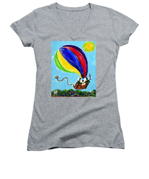 Women's V-Neck T-Shirt (Junior Cut) featuring the painting Jack And Charlie Fly Away by Jackie Carpenter