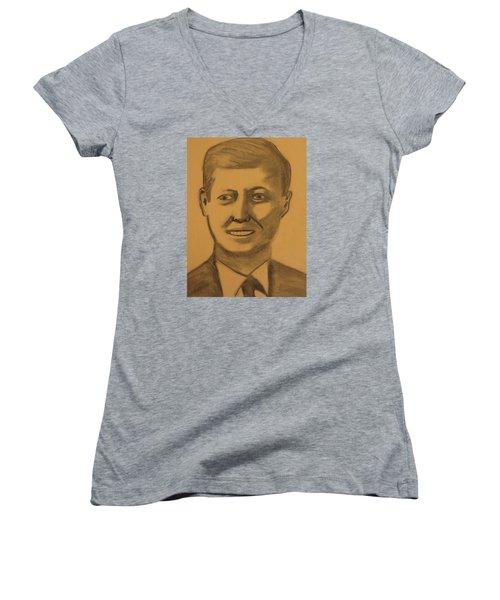 President Kennedy Women's V-Neck T-Shirt (Junior Cut)