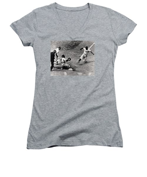 Jackie Robinson In Action Women's V-Neck T-Shirt (Junior Cut) by Gianfranco Weiss