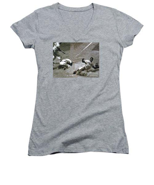 Jackie Robinson Sliding Home Women's V-Neck T-Shirt (Junior Cut) by R Muirhead Art
