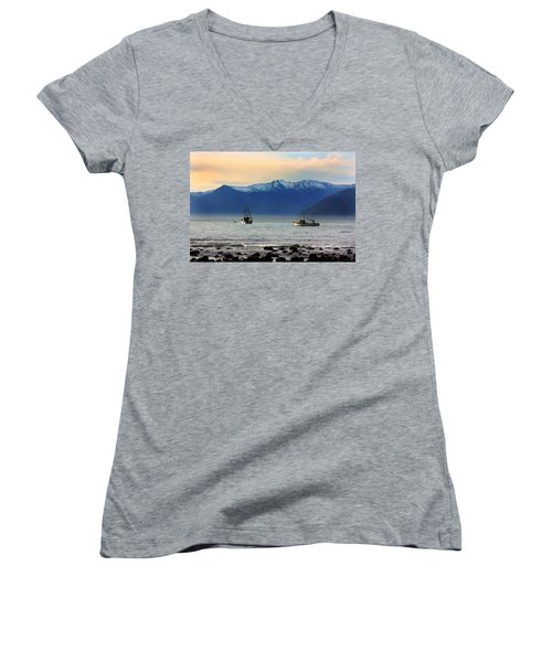 Women's V-Neck T-Shirt (Junior Cut) featuring the photograph Jackson Bay South Westland New Zealand by Amanda Stadther