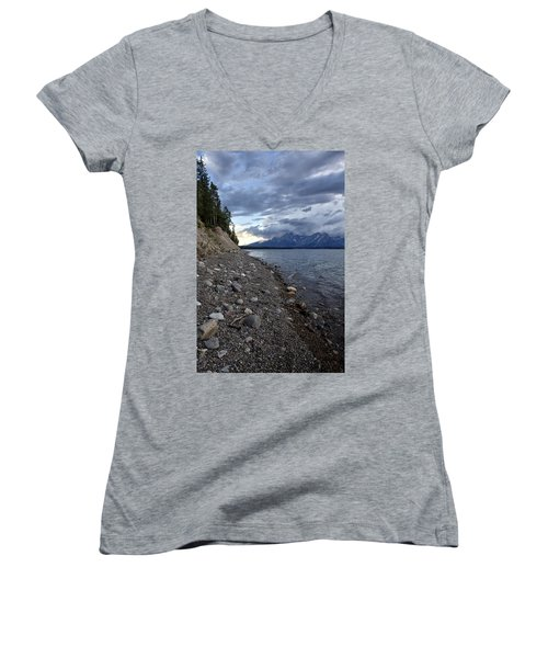 Women's V-Neck T-Shirt (Junior Cut) featuring the photograph Jackson Lake Shore With Grand Tetons by Belinda Greb