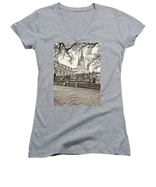Jackson Square Winter Sepia Women's V-Neck T-Shirt (Junior Cut) by Steve Harrington