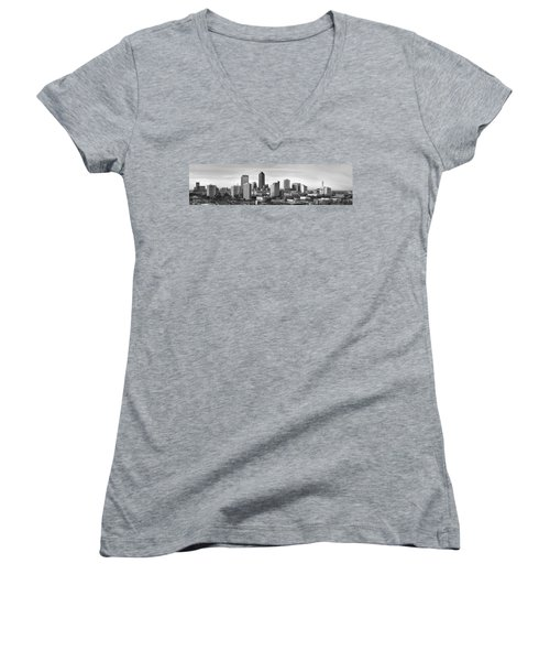 Women's V-Neck T-Shirt (Junior Cut) featuring the photograph Jacksonville Skyline Morning Day Black And White Bw Panorama Florida by Jon Holiday