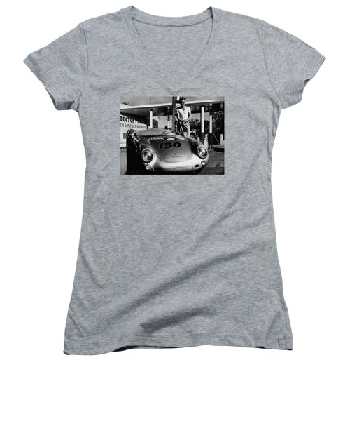 James Dean Filling His Spyder With Gas In Black And White Women's V-Neck T-Shirt (Junior Cut) by Doc Braham