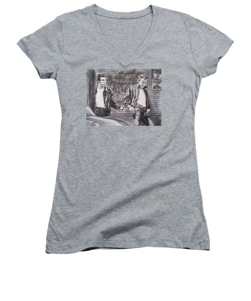 James Dean Meets The Fonz Women's V-Neck T-Shirt