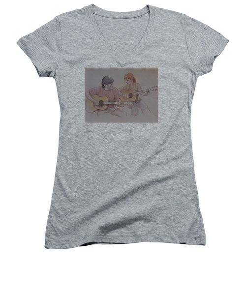 Jamin Women's V-Neck T-Shirt (Junior Cut) by Duane R Probus