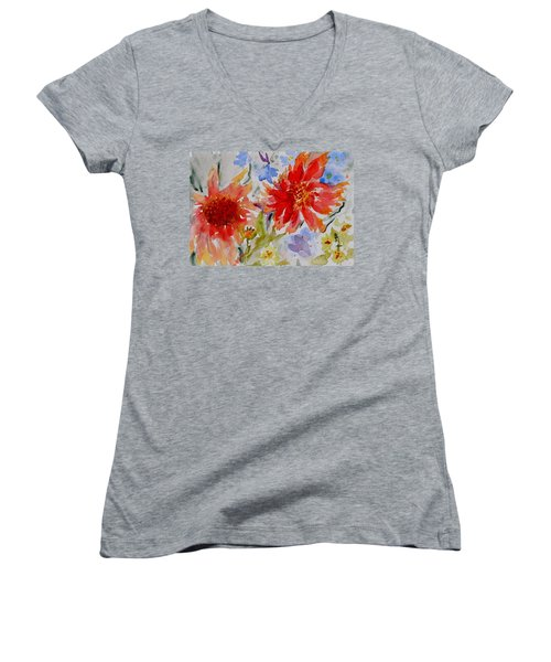 Women's V-Neck T-Shirt (Junior Cut) featuring the painting Jann's Gaillardia by Beverley Harper Tinsley