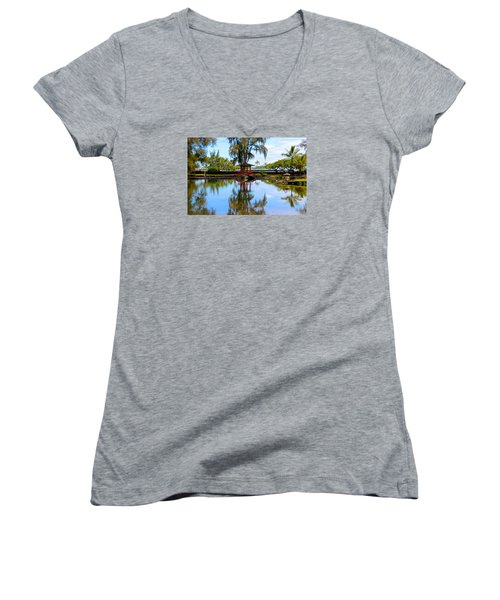 Japanese Gardens Women's V-Neck T-Shirt (Junior Cut) by Venetia Featherstone-Witty