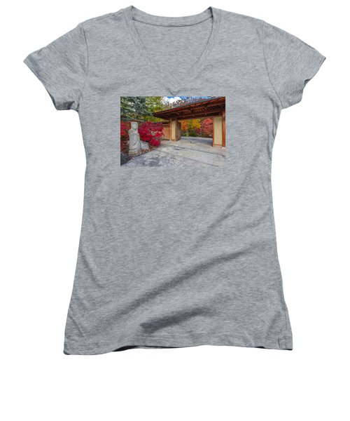Women's V-Neck T-Shirt (Junior Cut) featuring the photograph Japanese Main Gate by Sebastian Musial