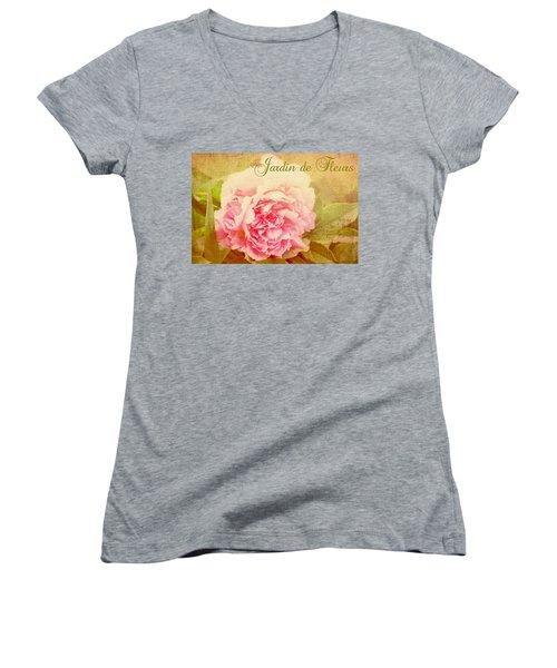 Jardin De Fleurs Women's V-Neck T-Shirt (Junior Cut) by Trina  Ansel
