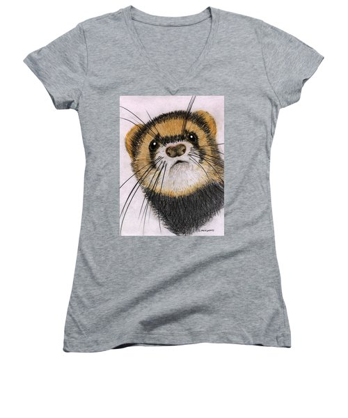 Women's V-Neck T-Shirt (Junior Cut) featuring the drawing Jasper by Barbara Moignard
