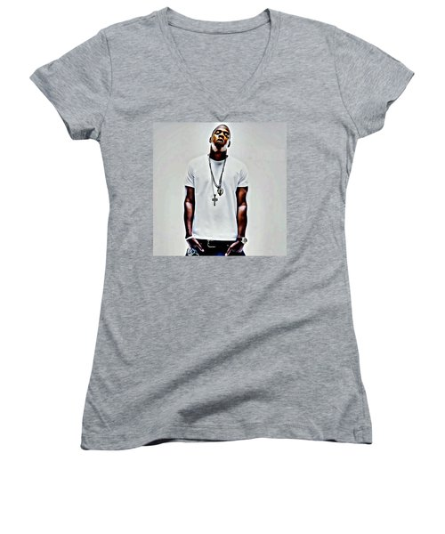 Jay-z Portrait Women's V-Neck T-Shirt (Junior Cut) by Florian Rodarte