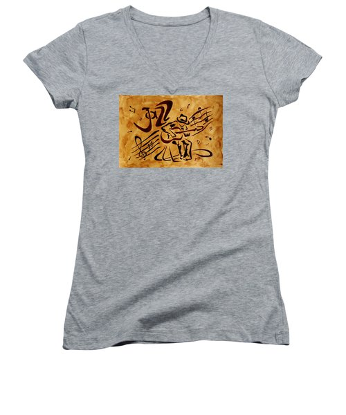 Women's V-Neck featuring the painting Jazz Abstract Coffee Painting by Georgeta  Blanaru