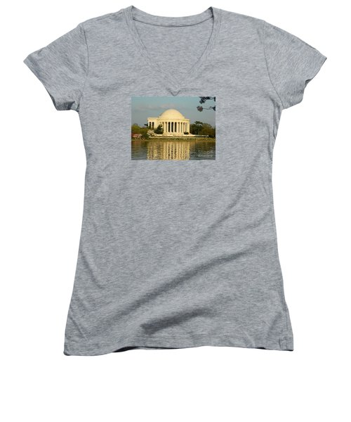 Women's V-Neck T-Shirt (Junior Cut) featuring the photograph Jefferson Memorial At Sunset by Emmy Marie Vickers