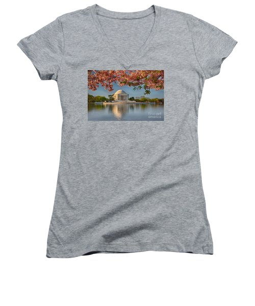 Jefferson Memorial In Spring Women's V-Neck (Athletic Fit)