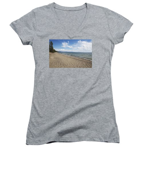 Women's V-Neck T-Shirt (Junior Cut) featuring the photograph Yellowstone Lake by Belinda Greb