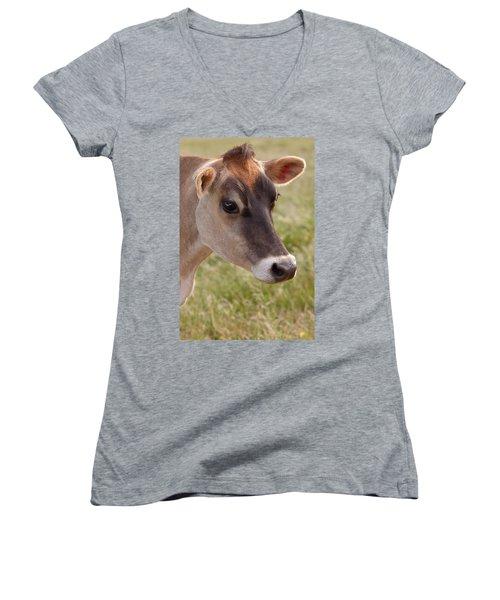 Jersey Cow Portrait Women's V-Neck (Athletic Fit)