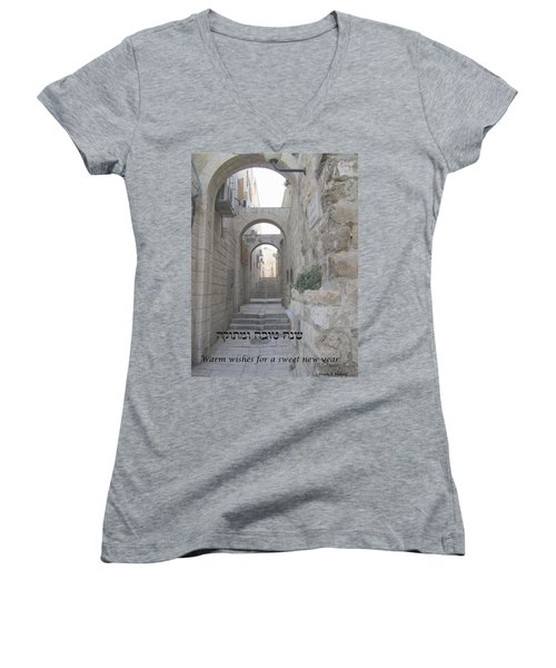 Jerusalem Street Scene For Rosh Hashanah Women's V-Neck T-Shirt