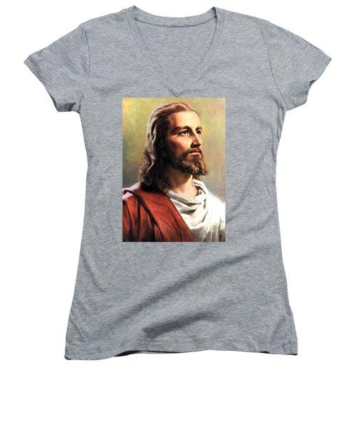 Jesus Christ Women's V-Neck T-Shirt (Junior Cut) by Munir Alawi