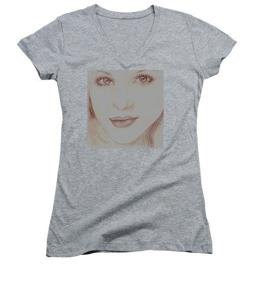 Women's V-Neck T-Shirt (Junior Cut) featuring the drawing Jewel by Christy Saunders Church