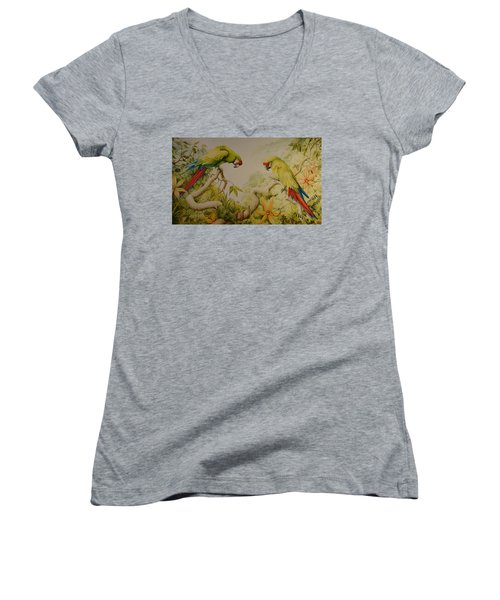 Jewels Of The Rain Forest  Military Macaws Women's V-Neck