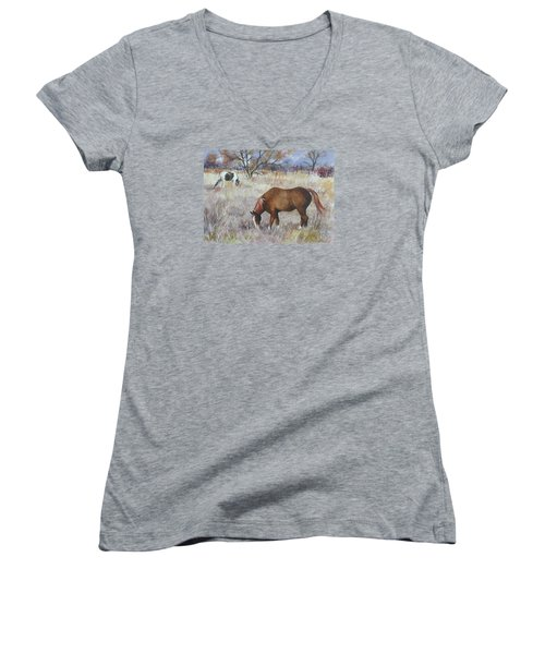 Jill's Horses On A November Day Women's V-Neck (Athletic Fit)