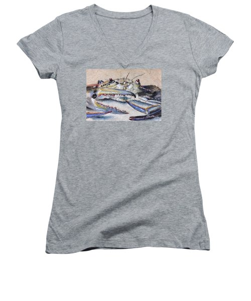 Women's V-Neck T-Shirt (Junior Cut) featuring the painting Jimmy by Stan Tenney