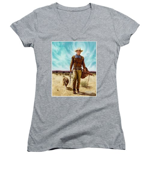 John Wayne Hondo Women's V-Neck T-Shirt (Junior Cut)