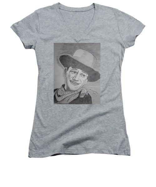 Women's V-Neck T-Shirt (Junior Cut) featuring the painting John Wayne by Kathy Marrs Chandler