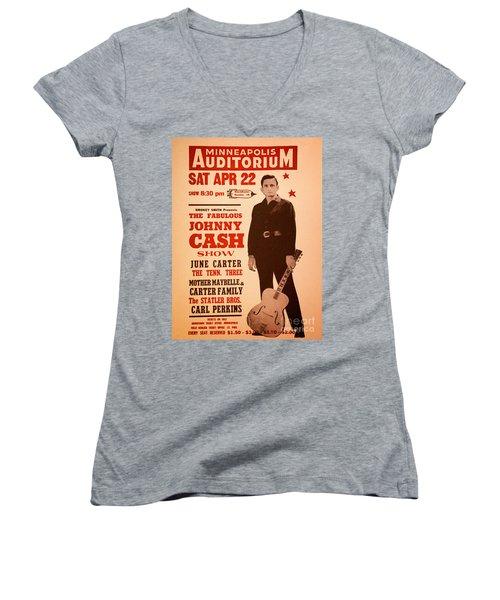 Johnny Cash Women's V-Neck T-Shirt (Junior Cut) by Bob Hislop