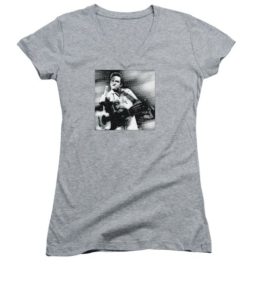 Johnny Cash Rebel Women's V-Neck