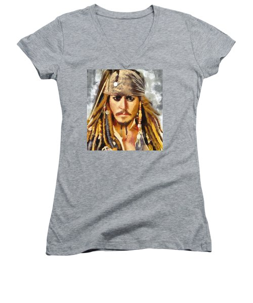 Johnny Depp Jack Sparrow Actor Women's V-Neck T-Shirt (Junior Cut) by Georgi Dimitrov