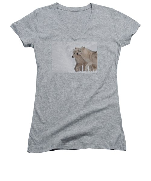 Women's V-Neck T-Shirt (Junior Cut) featuring the photograph Joined At The Hip by Bianca Nadeau