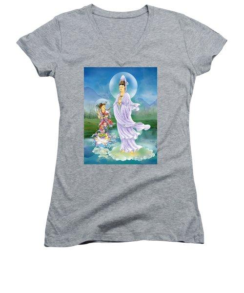 Joining Palms Kuan Yin Women's V-Neck T-Shirt (Junior Cut) by Lanjee Chee