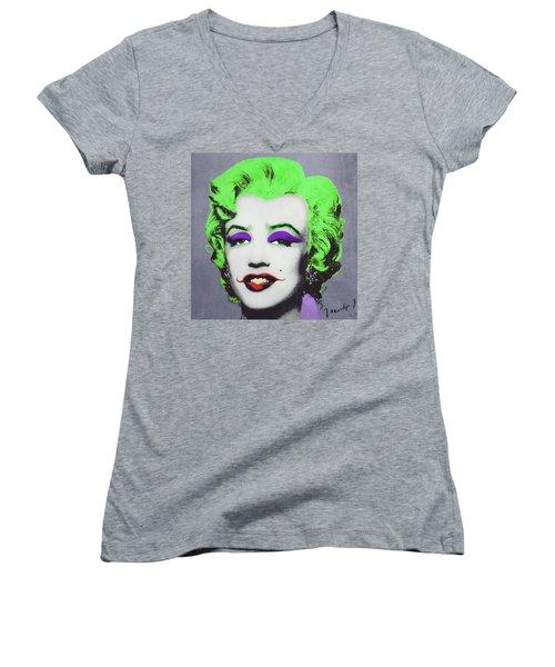 Joker Marilyn Women's V-Neck T-Shirt (Junior Cut) by Filippo B