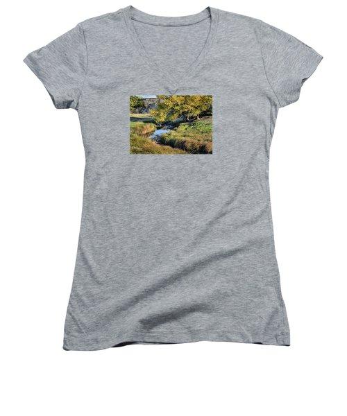 Jordan Creek Autumn Women's V-Neck T-Shirt (Junior Cut) by Bruce Morrison