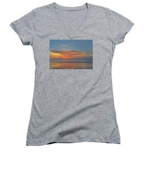 Jordan's First Sunrise Women's V-Neck T-Shirt (Junior Cut) by LeeAnn Kendall