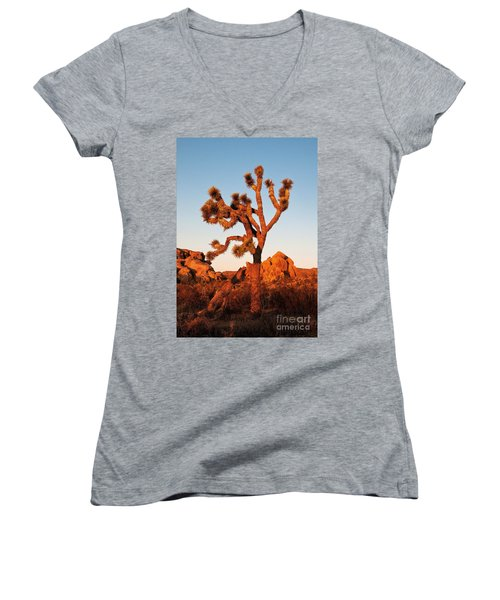 Women's V-Neck featuring the photograph Joshua Tree At Sunset by Mae Wertz