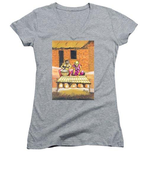 Joueurs De Balafon Et De Tam Tam Women's V-Neck T-Shirt (Junior Cut) by Emmanuel Baliyanga