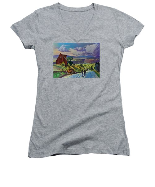 Women's V-Neck T-Shirt (Junior Cut) featuring the painting Journey Along The Road To Infinity by Art James West