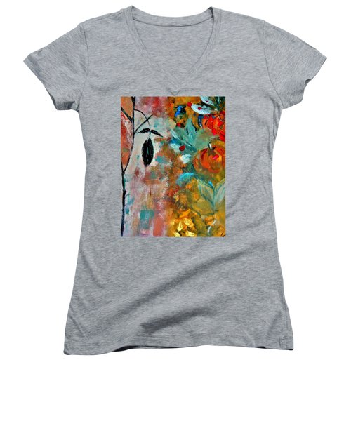 Women's V-Neck T-Shirt (Junior Cut) featuring the painting Joy by Lisa Kaiser