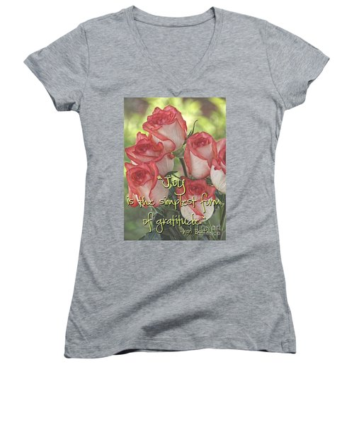 Joyful Gratitude Women's V-Neck T-Shirt