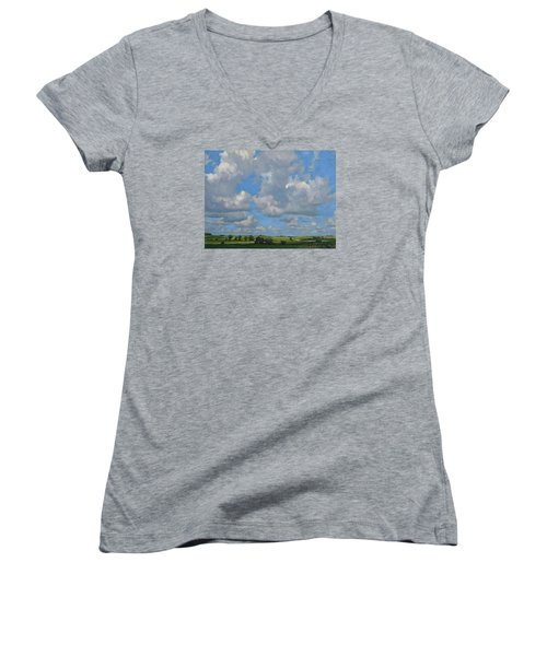 July In The Valley Women's V-Neck T-Shirt (Junior Cut) by Bruce Morrison