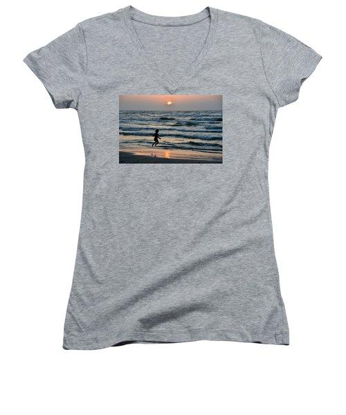 Jumping For Joy Women's V-Neck T-Shirt (Junior Cut) by Debra Martz